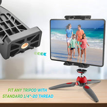 Load image into Gallery viewer, (T472)Tripod Mount Adapter for iPad with Remote 360 Degree Rotatable Break-Resistant, Universal Tablet Clamp Holder