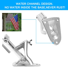 Load image into Gallery viewer, (T312)Ahomphe Stainless Steel Flag Pole Holder, Heavy Duty Flag Pole Bracket for 1 inch Flag Pole, 2 Positions Mount 2 Flags for House Outside