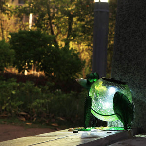 (G305) MUMTOP Solar Lantern Lights Outdoor Waterproof LED Solar Lights Frog Decorative Tabletop Lanterns for Patio Garden Table Decor