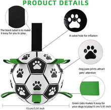 Load image into Gallery viewer, (S186)Dog Soccer Ball with Grab Tabs, Upgraded Interactive Dog Toys, Tug of War Dog Toy, Rubber Ball, Dog Water Toy, Herding Ball