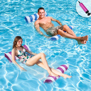 (R138)Inflatable Pool Floats for Adults - 2 Packs Portable Pool Floats with a Manual Air Pump, as Water Hammock, Pool Chairs to Beach, Swimming Pool