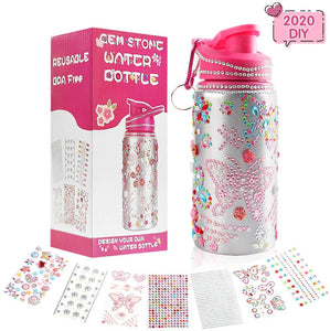 (F021)Decorate Your Own Water Bottle for Girls with Tons of Rhinestone Glitter Gem Stickers! Reusable BPA Free, Kids Water Bottle Craft Kit,Fun DIY Art and Craft Kit