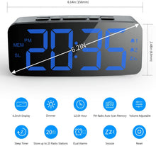 "Load image into Gallery viewer, (R732)HAPTIME Digital Alarm Clock Radio: 6.2"" Large LED Display with 4 Brightness Dimmer, Dual Alarms, Snooze, 12/24H, FM Radio with Sleep Timer, Blue Digits Clock"