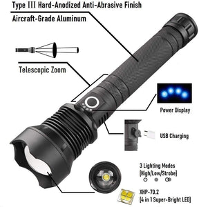 (R6062)Rechargeable Tactical Flashlight Super Bright Flashlight 9000 lumen XHP70 Flashlight High Lumen Flashlight Powerful LED Flashlights Zoomable Flashlight
