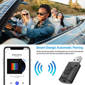 (T713)Bluetooth Aux Adapter, BAVNCO Wireless Bluetooth 5.0 Car Adapter Hands-Free Car Kits Mini 3.5mm Stereo Output Bluetooth Receiver Transmitter
