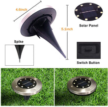 Load image into Gallery viewer, (Y200)Solar Ground Lights with 8 LED Disk Lights Waterproof In-Ground Lights Outdoor Garden Landscape Lights for Lawn Pathway Yard Walkway Deck Patio