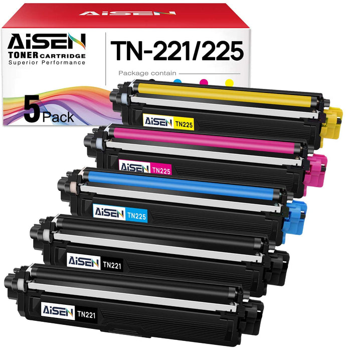 (G145)AISEN Compatible Toner Cartridges Replacement for Brother TN221 TN225 Used in Brother HL-3140CW HL-3170CDW HL-3180CDW HL-3150CDN MFC-9130CW