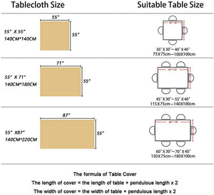 (D591) Rayzi Tablecloth, Rectangle Linen Cotton Wrinkle Free Anti-Fading Tablecloths,Washable Embroidery Dust-Proof Table Cover