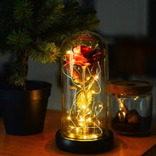 Load image into Gallery viewer, (S341)Beauty and The Beast Rose, Valentine Red Silk Rose in Dome Glass with 20 LED Fairy Lights String, Romantic Surprise