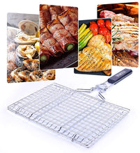 Load image into Gallery viewer, (T310)BBQ Grill Basket, Stainless Steel Kabob Grilling Basket with Removable Handle, Portable Outdoor Grill Accessories for Vegetable, Meat, Shrimp, Fish