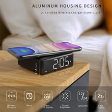 Load image into Gallery viewer, (R733)NOKLEAD Digital Alarm Clock with Qi Wireless Charger - Clear LED Display with 4 Brightness 12/24H Snooze for Bedroom Office Travel, Compatible