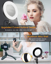 "Load image into Gallery viewer, (S814)ELEGIANT 6.3"" Selfie Ring Light with Clamp Mount for Desk, Bed, Office, Makeup, YouTube, Video, Live Steam & Broadcast"