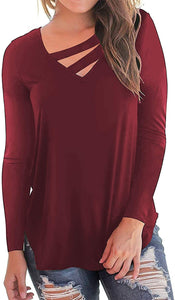 (T522)Women's Cotton Loose Fit T Shirts Fall Tops V-Neck Cutout Long Sleeve Blouse Top