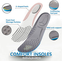 Load image into Gallery viewer, (G255)3 Pairs Shock Absorbing Insoles for Men, Full Length Massage Cushion Insoles Boot Replacement Inserts Shoe Pads