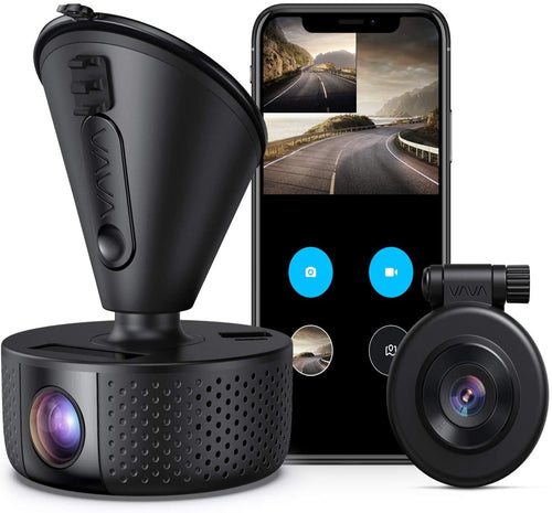 (D521)Dual Dash cam | VAVA Dual 1920x1080P FHD | Front and Rear dash camera | 2560x1440P Single Front|  for cars with Wi-Fi