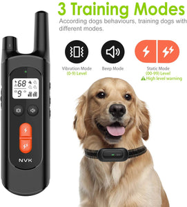 (G153)NVK Dog Training Collar Remote and Rechargeable Dog Shock Collar with 100% Waterproof Design, 3 Training Modes,Beep, Vibration and Shock