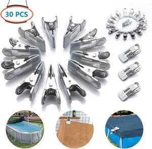 (Y300)GORNORVA 30 PCS Swimming Pool Above Ground Winter Cover Clips Secure Your Winter Pool Cover Attaches to Top Rail Wind Guard Clips Multifunctional Metal Clips