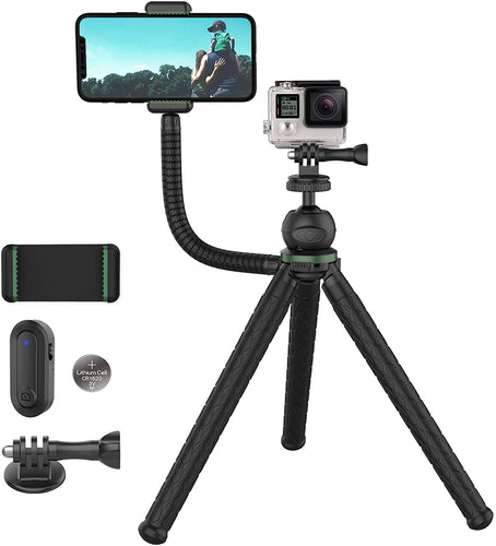 (X088)Phone Tripod, TECELKS Flexible Tripod with Phone Holder, 2-in-1 Versatile Portable Tripod, Mini Tripod with Upgraded Bluetooth Remote Shutter