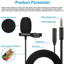 Load image into Gallery viewer, (T710)Lavalier Microphone, BAVNCO 3.5mm Plug Professional Lapel Microphone Omnidirectional Mic with Clip 3.5mm Jack for Podcast Recording Interview Youtube Voice Dictation Vlogging