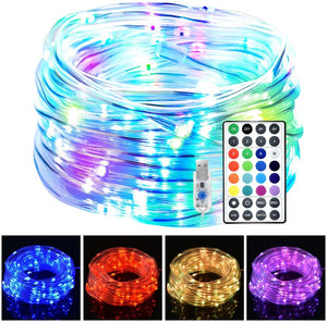 (Q266)LED Rope Lights, 33ft 100 LED 16 Colors Changing Indoor Outdoor String Lights, USB Powered Multi-Colored Twinkle Tube Fairy Lights with Remote