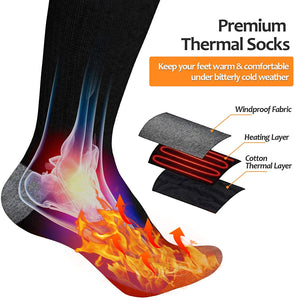 (V641)OYRGCIK Heated Socks, Thermal Socks for Men Women Winter Electric Warm Socks with Rechargeable Battery, 3 Heating Settings Leg Foot Warmers for Cold Weather Outdoor Camping Hiking Ski