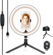 "Load image into Gallery viewer, (A919)10.2"" Ring Light with Stand & Phone Holder and Remote Control, Dimmable Desk Makeup Selfie LED RingLight Perfect for Live Streaming/YouTube/Video Recording/Photography"