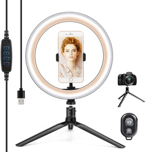 "(A919)10.2"" Ring Light with Stand & Phone Holder and Remote Control, Dimmable Desk Makeup Selfie LED RingLight Perfect for Live Streaming/YouTube/Video Recording/Photography"