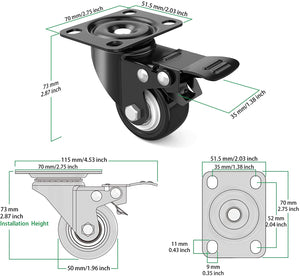 "(Q289)2"" Caster Wheels,Set of 4,Heavy Duty Swivel Casters with Brake, Safety Dual Locking and No Noise Polyurethane (PU) Wheels,Swivel Plate Castors"