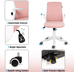 (X467)FINEWISH Office Chair Ergonomic Mid Back Swivel Desk Chair Fabric Office Computer Swivel Adjustable Rolling Task Chair Executive Chair