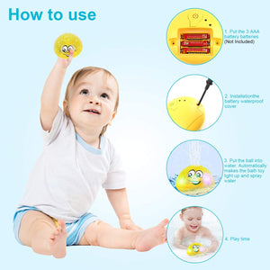 (Y769)SCIONE Baby Bath Toys with LED Lights for Kids Toddlers Sprinkler Shower Pool Bathroom Light Up Bathtub Toys for Baby Boys and Girls