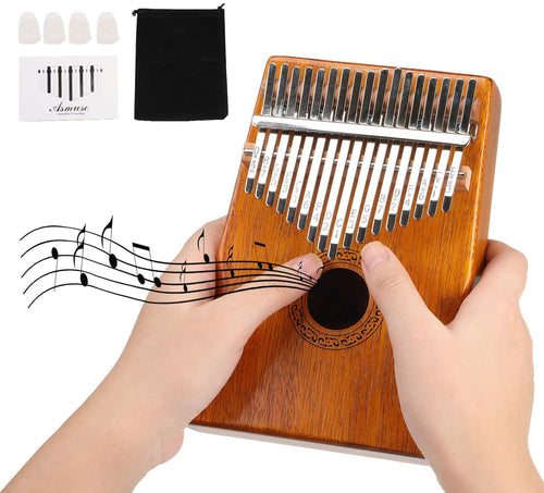 (T532)Kalimba 17 Keys Thumb Piano with Asmuse Songbook Tuning Hammer Carrying Bag Thumb Picks Cleaning Cloth