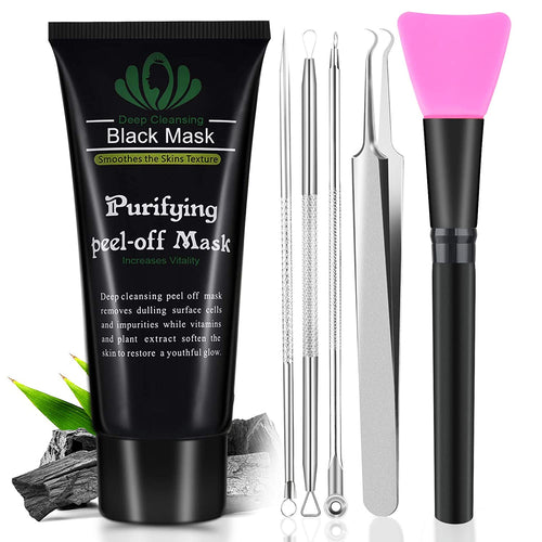 (H971)Blackhead Remover Mask, Blackhead Peel Off Face Mask 3-in-1 Blackhead Remover Charcoal Mask with Blackhead & Pimple Comedone Extractors and Silicone Brush
