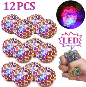 (S810)ZGWJ 12 Pack Anti-Stress Ball LED Mesh Squeeze Ball Toys Home and Office Use Stress Relief Toys for Easter Christmas Birthday Gift