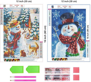 (R273)2 Pack 5D Full Drill Christmas Diamond Painting Kit,SUPNEW DIY Diamond Rhinestone Painting Kits for Adults and Beginner Diamond Arts Craft, 12x16inch,(Christmas Diamond Paintings)