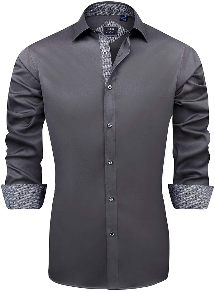 (Y730)J.VER Men's Casual Long Sleeve Stretch Dress Shirt Wrinkle-Free Regular Fit Button Down Shirts