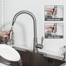 Load image into Gallery viewer, (B956)Kitchen Faucet Frap Pull Down Kitchen Faucet Antique Single Handle High Arc Kitchen Sink Faucet with Pull Out Sprayer Brushed Nickel