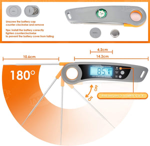 (W469)JamBer Food Thermometer, Waterproof Digital Instant Read Thermometer, Candy Milk Meat Thermometers for Cooking, Grilling BBQ, Baking, Heating