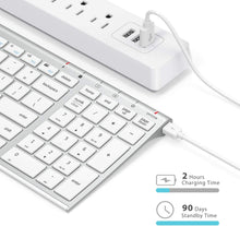 Load image into Gallery viewer, (Y020)iClever Wireless Keyboard - GKA22S Rechargeable White Keyboard with Number Pad, Full-Size Stainless Steel Keyboard Wireless 2.4G Stable Connection Wireless Keyboard