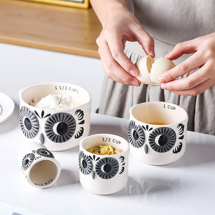 (X109)Ceramic Owl Measuring Cups Set of 4 for Cooking and Baking, Grey and White