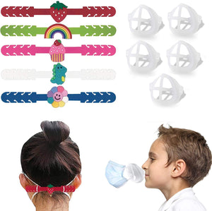 (X017)WallDecalsAndArt Mask Extender Strap Mask Bracket for Kids,Reusable Cute Mask Ear Strap Hook,Mask Inner Support Frame Washable 3D Face Nose Mouth Bracket