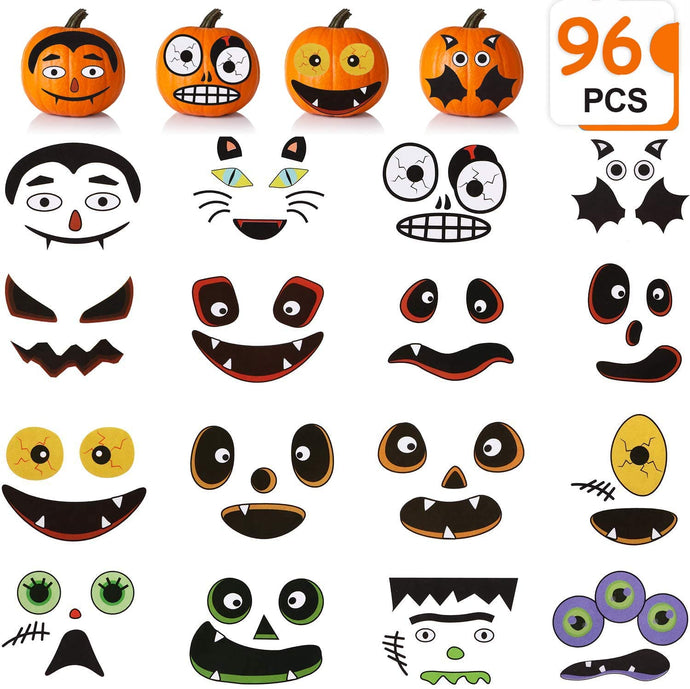 (F047)Taocco 96 PCS Halloween Pumpkin Decorating Stickers,Jack-o-Lantern Decoration Craft Kit,16 Funny and Classic Pumpkin Expressions Stickers,Halloween Trick or Treat Party Favors