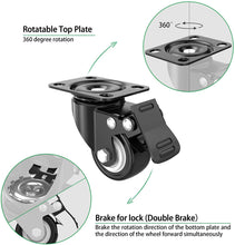 "Load image into Gallery viewer, (Q289)2"" Caster Wheels,Set of 4,Heavy Duty Swivel Casters with Brake, Safety Dual Locking and No Noise Polyurethane (PU) Wheels,Swivel Plate Castors"