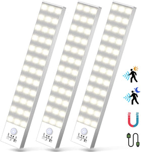(H850)36 LED Under Cabinet Light - 3 Pack Motion Sensor Closet Lights Led Magnetic Wireless Rechargeable Battery Powered for Kitchen Bed Counter Indoor Stairs 4 Modes