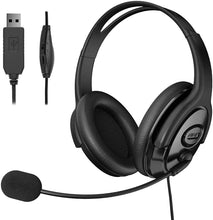 Load image into Gallery viewer, (K582)USB Headsets with Microphone Computer Headset with Mute Function, PC Headphones with Retractable Microphone Noise Canceling, All Day Comfort