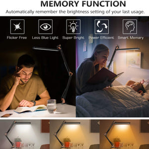 (V544)AXUF LED Desk Lamp, Metal Swing Arm Desk Lamp with Clamp, Eye-Caring Dimmable Architect Task Lamp, Drafting Table Lamp with 3 Color Modes 10 Brightness Levels