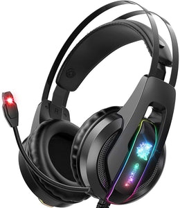 (H105)ONIKUMA Gaming Headset PS5 Headset with 7.1 Surround Sound Noise Cancelling Mic &RGB LED Light