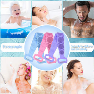 (T542)Silicone Back Scrubber for Shower,Deep Clean and Exfoliating Lengthen Silicone Body Back Brush,Easy to Clean,Improves Blood Circulation and Skin Health
