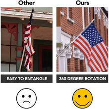 Load image into Gallery viewer, (Y623)Yeesun Flag Pole,6FT American Flag Pole & Bracket-Suitable for 3 x 5 Flags Holder for House Porch & Outdoor,Tangle Free and Wall Mount Flag Pole Kit (Without Flag,Silver)