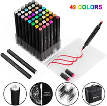 Load image into Gallery viewer, (D966)49 colors Alcohol Brush Markers,Ojofo Double Tipped Sketch Markers, Dual End Markers,Drawing Permanent Markers for Artist Sketching, 1 colorless blender and Highlighter Bonus