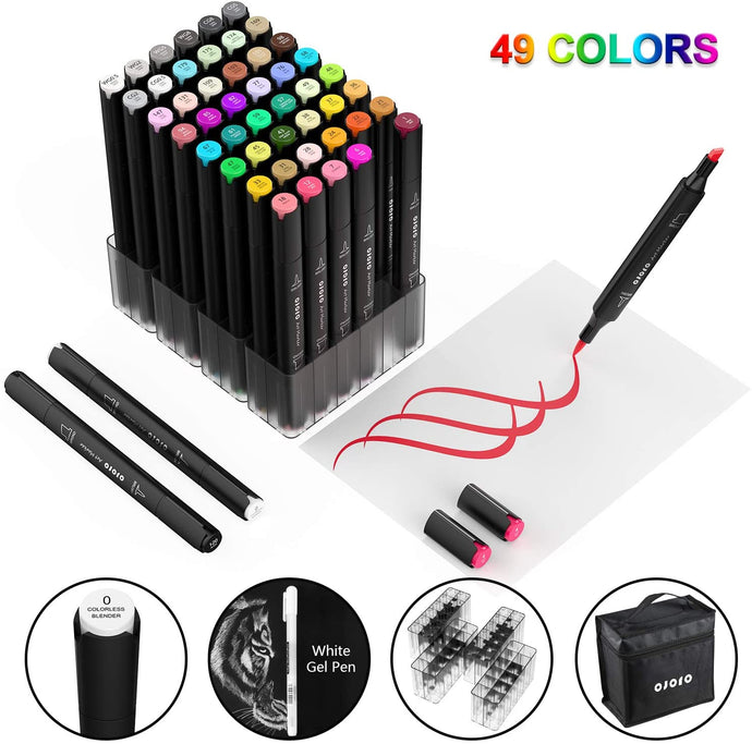 (D966)49 colors Alcohol Brush Markers,Ojofo Double Tipped Sketch Markers, Dual End Markers,Drawing Permanent Markers for Artist Sketching, 1 colorless blender and Highlighter Bonus